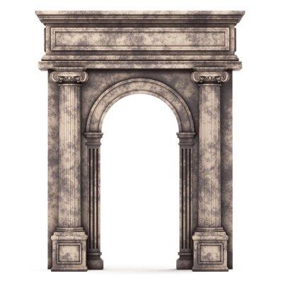 Poster Bege, marmore, composto, arco, isolado, branca