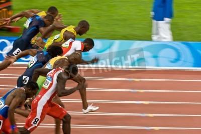 Poster Beijing, China Jogos Olímpicos de agosto 18, 2008, 100 metros de sprint, Início dos homens