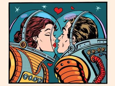 Poster Beijo, espaço, homem, mulher, astronautas