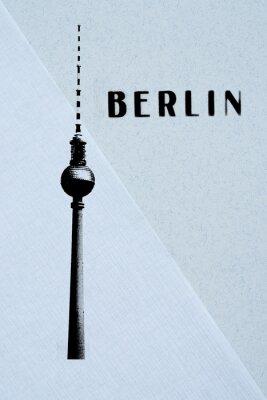 Poster Berlim Cartão do vintage - torre da tevê e letras no backg abstrato