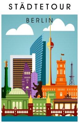 Poster Berlim poster bunt mit wichtigen Sehenwürdigkeiten hochkant Panorama da silhueta