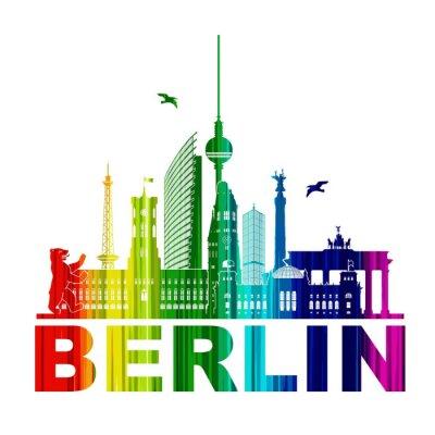 Poster Berlim Silhueta Umriss Wandtatoo Schattenriss Elemento Regenbogen Fernsehturm Bär Rathhaus Reichstag Brandenburger Tor Funkturm