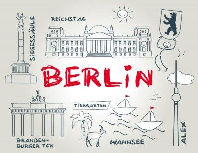 Poster Berlim, Wahrzeichen, ilustração