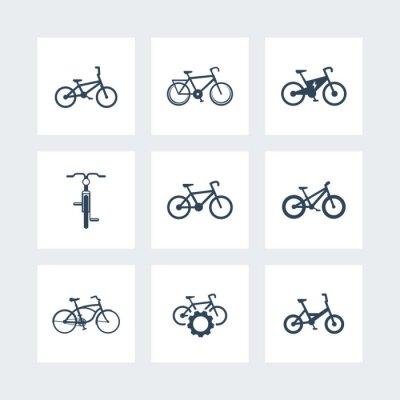 Poster Bicicleta, ciclismo, bicicleta, bicicleta elétrica, fat-bike ícones simples, ilustração vetorial