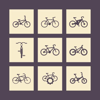 Poster bicicleta, ciclismo, bicicleta, bicicleta elétrica, ícones quadrados fat-bicicleta