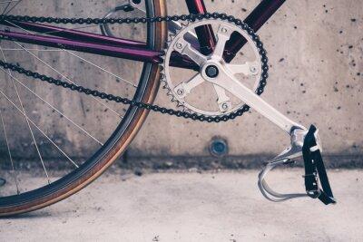 Poster Bicicleta de estrada e muro de concreto, cena estilo vintage urbano