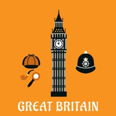 Poster Big Ben torre e outros objetos Grã-Bretanha