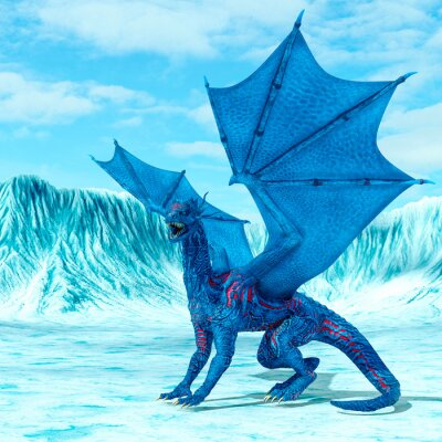 Poster blue ice dragon is looking for food on frozen land