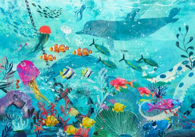 Poster blue underwater background with fish