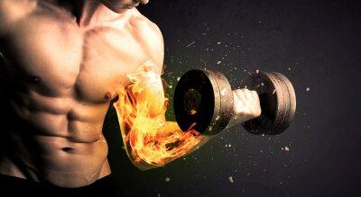 Poster Bodybuilder, atleta, levantamento, peso, fogo, explodir, braço, conceito