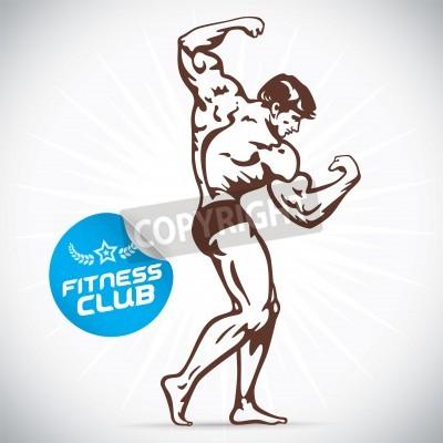 Poster Bodybuilder Fitness Model Illustration