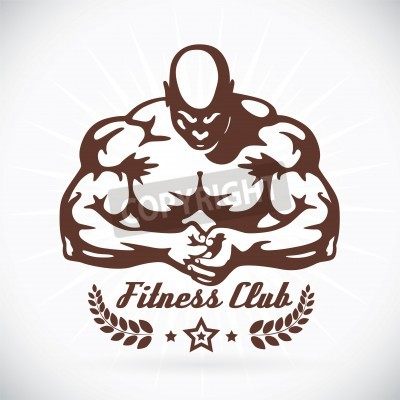 Poster Bodybuilder Fitness Model Illustration, Sign, Symbol, Button, Badge, Icon, Logo for Family, Baby, Children, Teenager, People, Tattoo