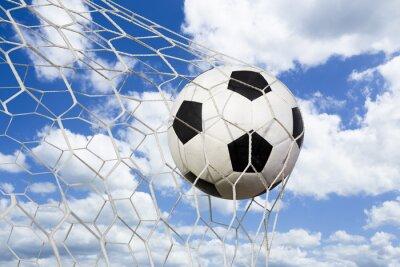 Poster Bola de futebol na rede de gol