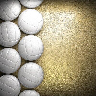 Poster Bola de vôlei e fundo dourado parede