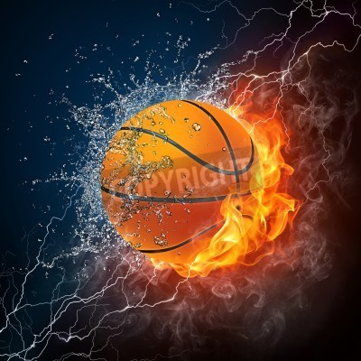 Poster Bola do basquetebol no fogo e água. Gráficos 2D. Projeto computador.