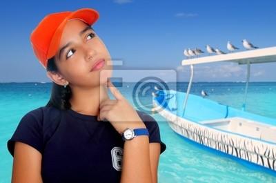 Poster Boné laranja Latina adolescente latino-americano pensativa menina 59af6c040c5