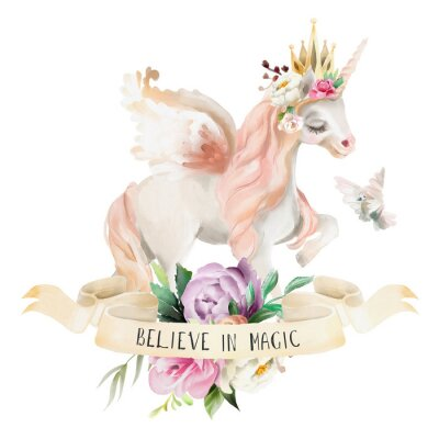 Poster Bonito, bonito, aquarela sonhando unicórnio, pegasus com flores, coroa de ouro, bouquet floral, pombo e fita com qoute isolado no branco