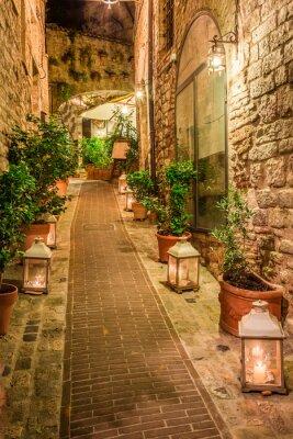 Poster Bonito, decorado, rua, pequeno, cidade, itália, umbria