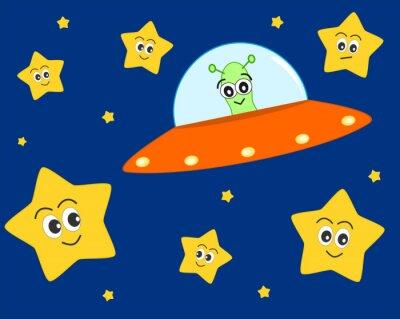 Poster bonito dos desenhos animados do UFO do estrangeiro no espaço com ilustração doce vector linda estrelas para as crianças