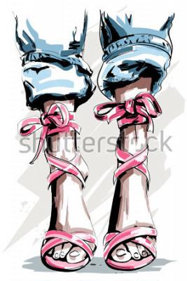 Poster Bonito mão desenhada pernas em sapatos. Sapatos de verão linda. Acessórios fashions. Esboço. Ilustração vetorial