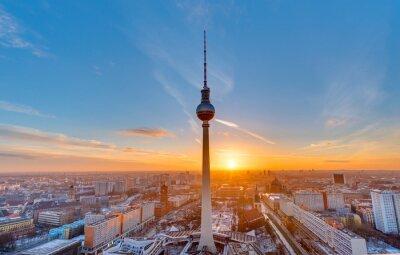 Poster Bonito, pôr do sol, televisão, torre, Alexanderplatz, Berlim
