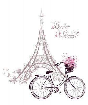 Poster Bonjour texto Paris com torre Eiffel e bicicleta