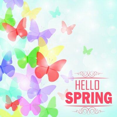 Poster Borboletas coloridas Fundo com texto Olá Primavera