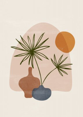 Poster Botanical vintage print boho sun minimalist wall art
