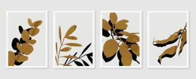 Poster Botanical wall art vector set. Foliage line art drawing with  abstract shape.  Abstract Plant Art design for print, cover, wallpaper, Minimal and  natural wall art. Vector illustration.