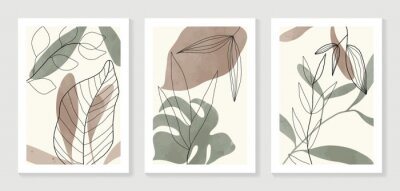 Poster Botanical wall art vector set. Water color boho foliage line art drawing with  abstract shape.  Abstract Plant Art design for print, cover, wallpaper, Minimal and  natural wall art.