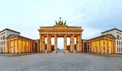 Poster Brandenburg panorama portão em Berlim, Alemanha