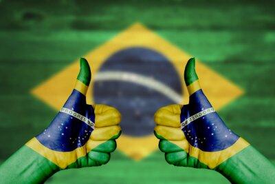 Poster Brasil bandeira pintado em mãos femininas polegares para cima