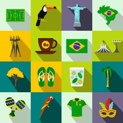 Poster Brasil ícones plana