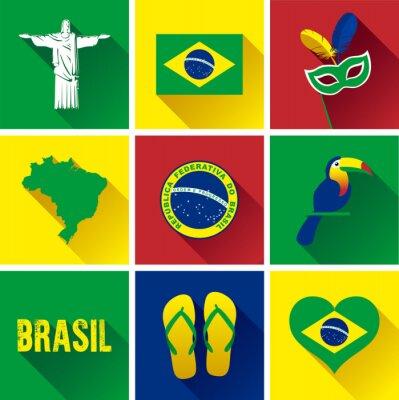 Poster Brasil Jogo Plano Do ícone. Conjunto de ícones gráficos de vetor gráfico representando marcos e símbolos do Brasil.