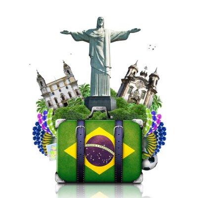 Poster Brasil, marcos Brasil, viagens e mala de viagem retro