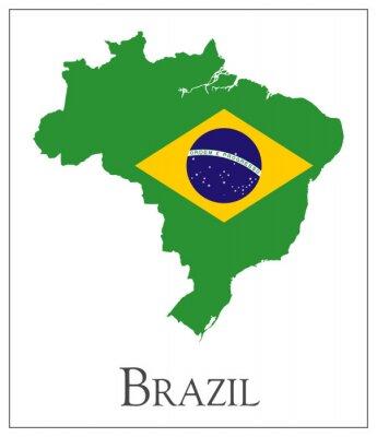 Poster Brazil flag map