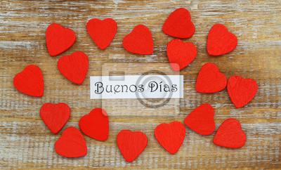Buenos Dias Bom Dia Em Espanhol Com Os Corações Vermelhos