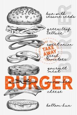 Poster Burger illustration for food restaurant and truck on vintage background.