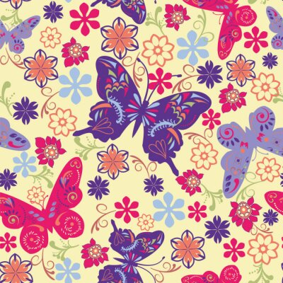 Poster Butterfly and Flower Seamless Pattern - Illustration