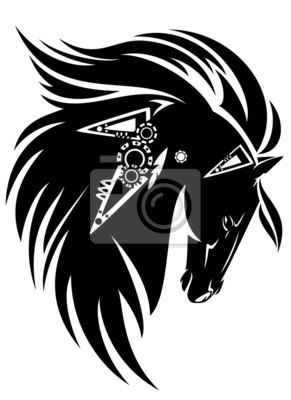 Cabeca De Cavalo Preto Com Desenho Tribal Longa Juba Cartazes Para