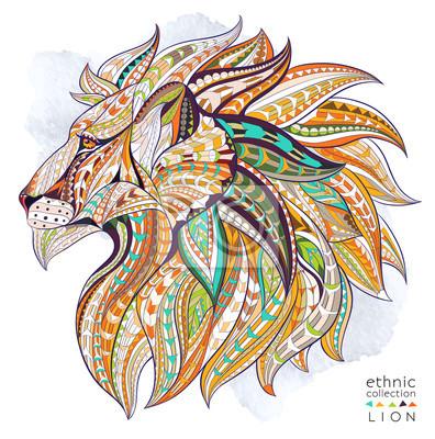 Poster Cabeça modelada do leão no fundo do grunge. Projeto africano / indiano / totem / tatuagem. Pode ser usado para o projeto de um t-shirt, de um saco, de um cartão postal, de um poster e assim por diante