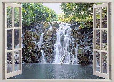 Poster Cachoeira vista de janela aberta