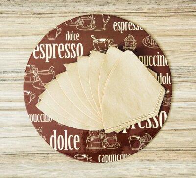 Poster Café, redondo, bandeja, café, filtros, madeira, backgr