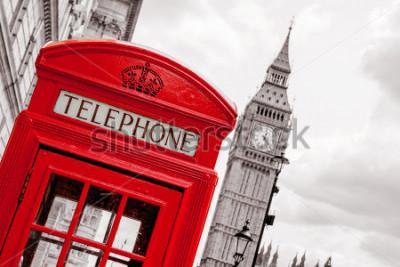 Poster Caixa de telefone vermelha e Big Ben. Londres, Inglaterra