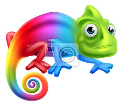 Poster Camaleão do arco-íris dos desenhos animados