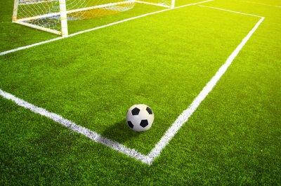Poster Campo de futebol gramado com marcação e bola, Esporte