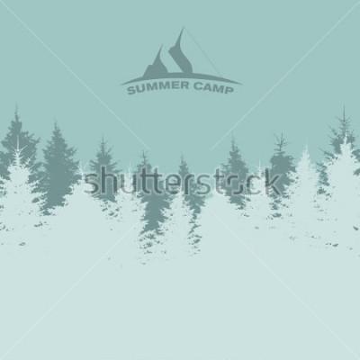 Poster Campo de verão. Imagem da natureza. Silhueta Da árvore. Ilustração