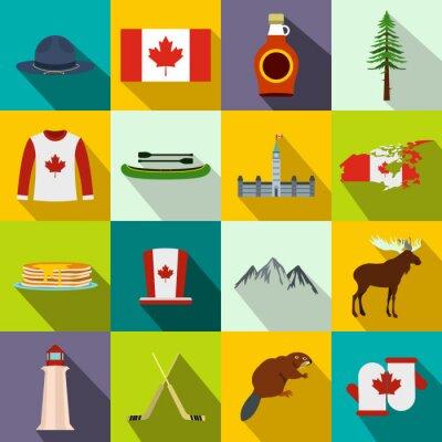Poster Canadá ícones plana