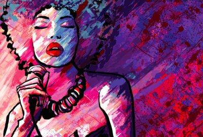 Poster Cantora de jazz com o microfone no fundo do grunge