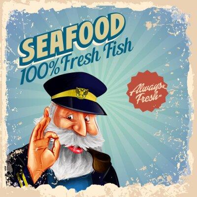Poster Capitão de peixe fresco do marisco